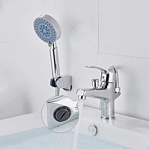 Zixin Badezimmer-Bassin-Hahn-Satz Deck montiert Wannen-Mischer mit Duschkopf WC-Wasser-Wäsche-Bassin-Hahn kalte Warmwasser-Mischventil Hahn