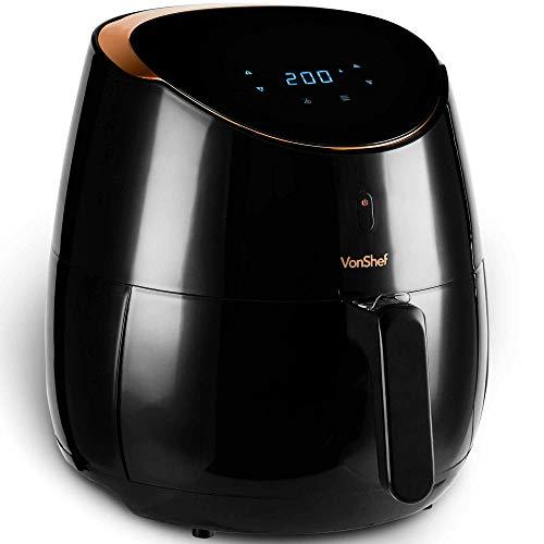 VonShef 5L Airfryer Heißluftfritteuse 2000 W Digital für gesundes und fettarmes Kochen, Multifunktionale Fritteuse, LCD Anzeige – Frittieren, Backen, Braten & Aufwärmen 80-200°C,