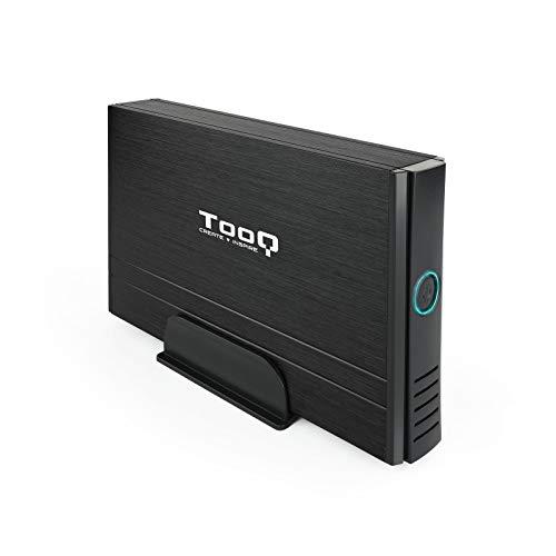 Tooq TQE-3520B - Carcasa para Discos Duros HDD de 3.5', (IDE, SATA I/II/III, USB 2.0), Aluminio con Soporte de plastico, indicador LED, Color Negro, 350 grs.