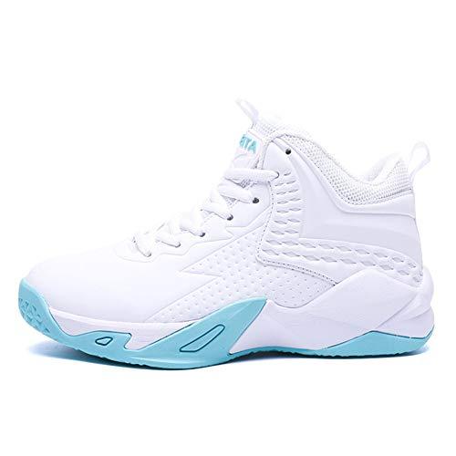 LFLDZ Frauen-Basketball-Schuhe, hohe Spitzenbasketball-Stiefel Arbeiten Breathable Trainer im Freien hohen elastischen Schlag, KPU-Gewebe-Leichter laufender Turnschuh um,Grün,38