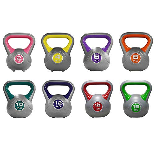 JLL® Coloured Vinyl Kettlebells 2kg-16kg (10kg), Home Gym, Training, Weight, Fitness, Available in sets. (Green, 10KG)