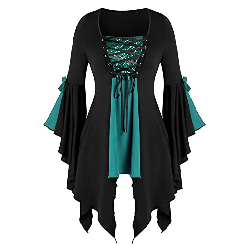 Gothic Dresses for Women Vintage Bell Long Sleeve Tunic Tops Lace Up Medieval Renaissance Costume Shirt Dress Tunics