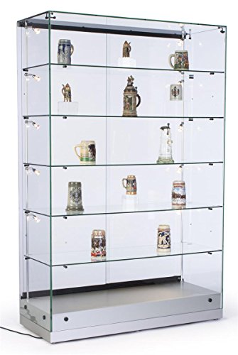 48 Inch Glass Display Cabinet with 5 Height-Adjustable Glass Shelves and 10 Side Lights, Curio...