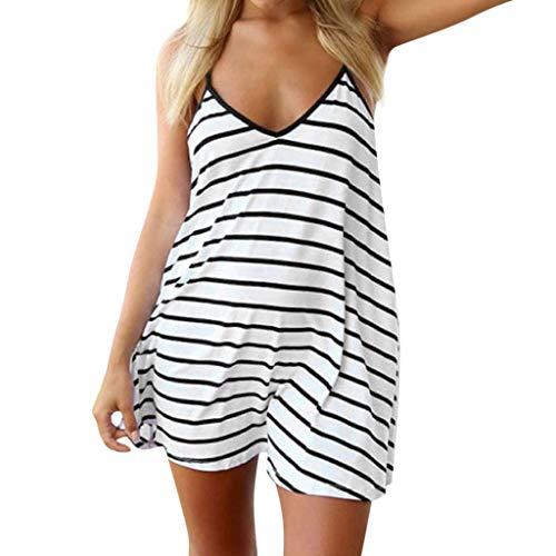 Xinantime camiseta regata feminina casual listrada de verão sem manga solta camisetas mini vestido, Branco, Large