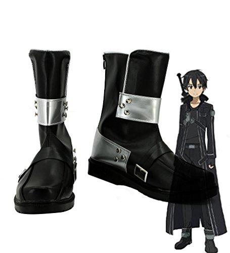 Sword Art Online SAO Kirigaya kazuto Electric Cosplay zapatos Botas Custom Made, Negro