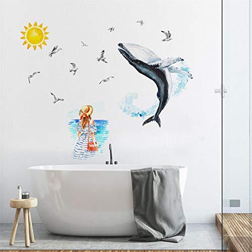 Whale Seabird mooie muursticker creatieve muursticker decoratieve muur raamdecoratie zelfgemaakte sticker muraux @ THE_China