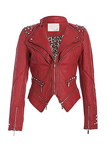 Pretty Attitude - Chaqueta de cuero artificial con pinchos, diseño motero, color rojo