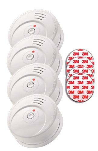 Jeising GS506 G 4er Set Rauchmelder KRIWAN zertifiziert EN14604 mit 10 Jahre Batterie inkl. 4 x Magnetbefestigung Magnetopad