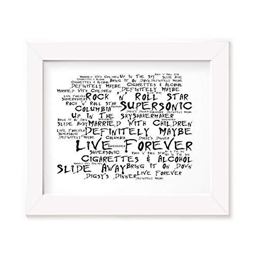 `Noir Paranoiac` Kunstdruck - OASIS - Definitely Maybe - Unterzeichnet und Nummerierten Limitierte Auflage Typografie Ungerahmt 25 x 20 cm Wand Kunst Druck Text Lyrisch Plakat - Song Lyrics Art Print Poster