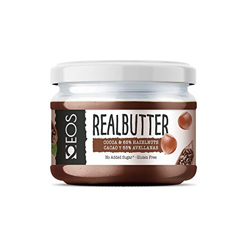 EOS - Crema de Cacao y Avellanas Saludable 200g - Sin azúcares añadidos y 65% Avellana