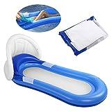 Shanrya Cama Flotante Inflable de Verano, Tumbona Inflable, con cobertizo Tumbona Individual para Nadar Durante el Verano