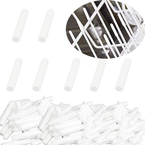 Zaky 100 pezzi Set Punte Per Cestello Lavastoviglie in Silicone per Lavastoviglie Protezione Antiruggine Extra Resistente Copri-Filo per Filo Bianco Grigio (Bianco)