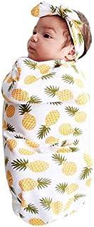 Lomsarsh Newborn Infant Baby Swaddle Blanket Sleeping Swaddle Muslin Wrap Headband Set Baby Baby Towel Towel Sleeping Bag...