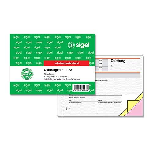 SIGEL SD023 Quittungsblock A6 quer, 3x40 Blatt, selbstdurchschreibend,1 Stück