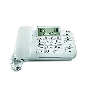 Gigaset DL380. Teléfono fijo con cable, Pantalla de alta visibilidad, Teclas grandes, Agenda para 99 contactos, Color Blanco