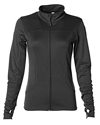 Global Blank Womens Fitted Full Zip Yoga Workout Jacket Formfitting Active Long-Sleeve Top Black