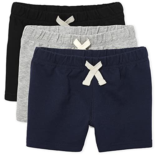 The Children's Place Baby Boys and Toddler Boys French Terry Shorts, Black/Smoke Gray/New Navy, 2T