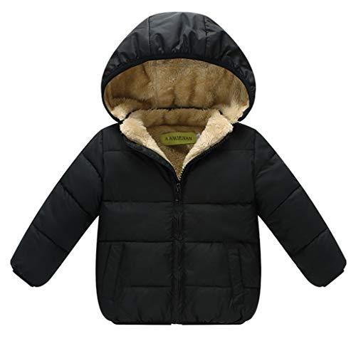 PROTAURI Kinder Winterjacke Baby Jungen Mädchen Gefütterte Jacke mit Kapuze Wattierte Windabweisende Fleecejacke Schwarz Outfits 1-2 Jahre