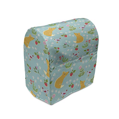 Ambesonne Fox Stand Mixer Cover, Rhythmic Forest Fruits Berries and Birds Animals Leaves Woodland Drawing, Kitchen Appliance Organizer Bag Cover with Pockets, 6-8 Quarts, Pale Seafoam and Orange