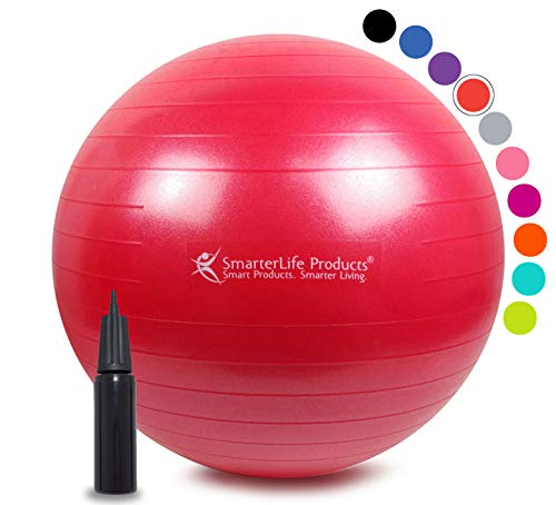 Exercise Ball for Yoga, Balance, Stability from SmarterLife - Fitness, Pilates, Birthing, Therapy, Office Ball Chair and Flexible Seating   Anti Burst, Non Slip   + Workout Ball Guide (Red, 55 cm)