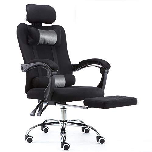 RCQ Nylon feet Professioneller Bürostuhl, ergonomischer Spielstuhl + anheblicher Chefsessel, Computerstuhl + drehbarer Bürostuhl für Büro, Hausgebrauch, Schwarz Debuggable