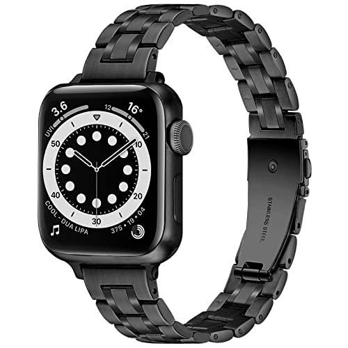 Light Compatibles con las Correas de Apple Watch 42mm 44mm 45mm, Correa de Metal de Acero Inoxidable de Estilo Empresarial para iWatch Series7 6 SE 5 4 3 2 1(Black, 42mm/44mm/45mm)