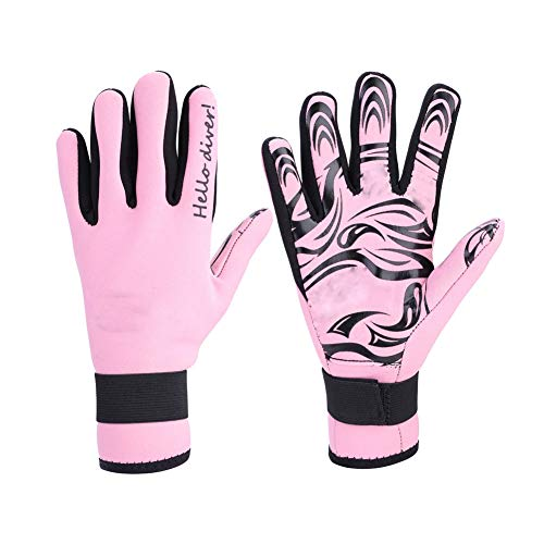 VGEBY1 2MM Neoprene Diving Gloves, Five Finger Diving Gloves for High-Performance Watersports Equipment Adult.(S-Pink)