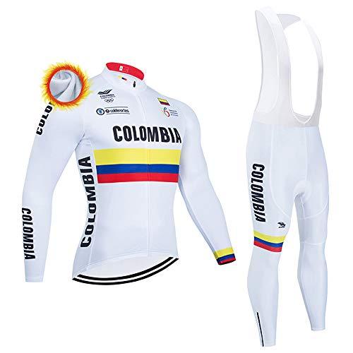 Completo Abbigliamento Ciclismo Uomo Maglie Ciclismo Invernale Manica Lunga e Pantaloni Imbottiti Completi Ciclismo Squadre Uomo