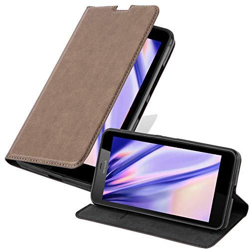 Cadorabo Hülle für Nokia Lumia 640 XL - Hülle in Kaffee BRAUN – Handyhülle mit Magnetverschluss, Standfunktion und Kartenfach - Case Cover Schutzhülle Etui Tasche Book Klapp Style