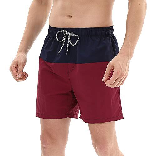 anqier Badeshorts für Männer Badehose für Herren Jungen Schnelltrocknend Schwimmhose Strand Shorts,Dunkelblau+weinrot,M(EU)-MarkeGröße:L-Taille 80-90cm
