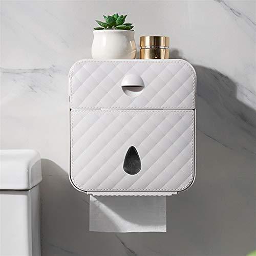 Portarollos papel higienico Tenedor de papel higiénico Toallito de papel impermeable Toalla de papel Montado en pared Tapa de inodoro Caja Caja de almacenamiento cilíndrico Accesorios de baño Portarro