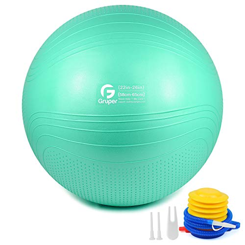 Gruper Yoga Stabilitätsball–Extra Dicker Gymnastikball für Fitness Balance Workout–Anti-Burst Stuhl für Zuhause und Büro Schreibtisch–inkl. Handpumpe und Workout Guide Zugang (Cyan, 65cm (26 inch),L)