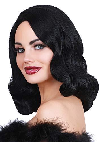 Dreamgirl Women's Hollywood Glamour Wig, Black, Adjustable