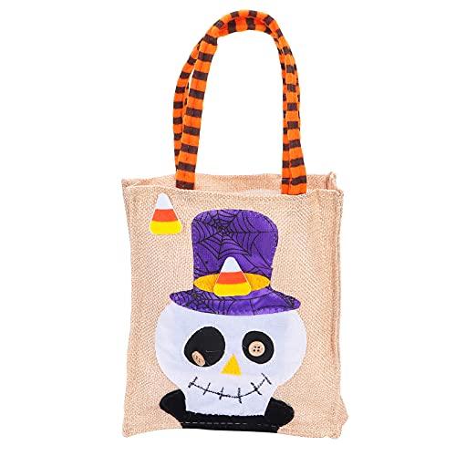 Bolsas de Halloween, Bolsa de Asas de Halloween Bolsa de Truco o Trato decoración de Sala de Pasteles para Bolsas de Regalo para reuniones Familiares para Tiendas de postres(Cráneo)