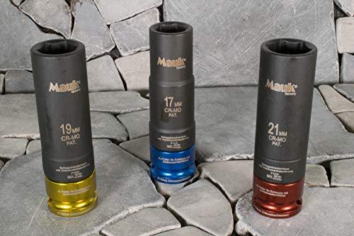 Mauk Schlagschrauber Nüsse 17/19/21 mm mit Drehmomentreduzierung inkl. Koffer; farblich codiert; CR-MO