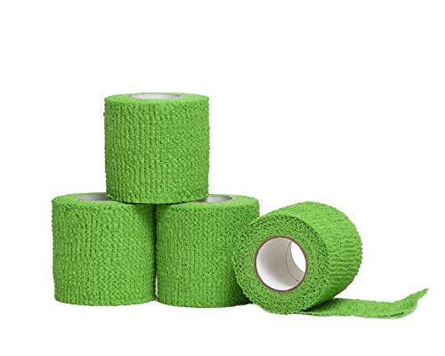 HealiT ShieldGrip™ Cohesive Bandage 2inch-Wide Self Adherent Athletic Wrap Medical Tape, Elastic Flexible Breathable First Aid Gauze Ideal for Stretch Ankle Sprains, Swelling, Sports - Green - 4 Pack