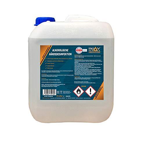 INOX® Hände Desinfektionsmittel mit Alkohol, 5L - alkoholische Händedesinfektion Entfetter Desinfektion für Hände & Haut