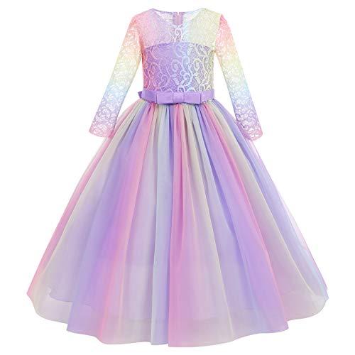 IMEKIS Robe de princesse pour fille - Élégante fleur en dentelle - Robe de fête de demoiselle d'honneur - Pour mariage, anniversaire, communion, soirée, cocktail, bal - 5-14 ans - -...