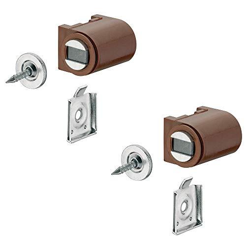 Magnetverschluss braun mit Anschraubplatte Magnetschnapper Tür zum Schrauben - H2059 | Türmagnet Haftkraft 4,0 kg | MADE IN GERMANY | Halte-Magnet rund | 2 Stück - Möbelmagnet mit Gegenplatte
