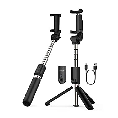 Yoozon Selfie Stick Bluetooth, Extendable Selfie Stick with Wireless Remote and Tripod Stand Selfie Stick for iPhone X/iPhone 8/8 Plus/iPhone 7/iPhone 7 Plus/Galaxy S9/S9 Plus/Note 8/S8/S8 Plus/More