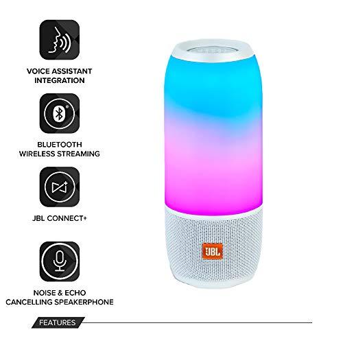 JBL Pulse 3 Speaker Bluetooth, Portatile, Ricaricabile con vivavoce, Waterproof IPX7, Giochi di Luce Personalizzabili, JBL Connect+, Bianco