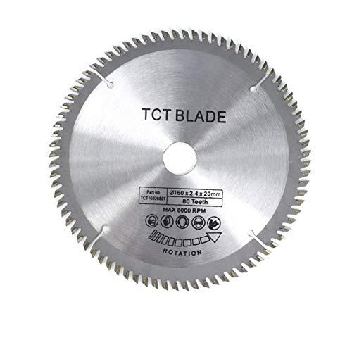 SANKUAI LT-Discs, 1pc Diámetro 160 165 185mm TCT Hoja de Sierra Circular para Madera de plástico acrílico Hoja de Sierra de carpintería 24T 48 60t 80t de Disco de Corte (tamaño : 160x20x80T)