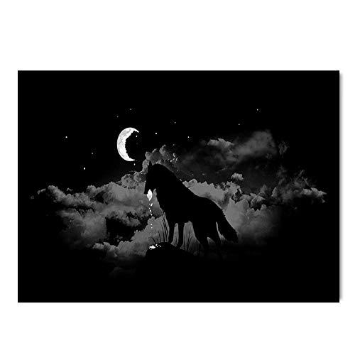 Oukeep Alfombra Impermeable Antideslizante Gruesa Alfombra De Piso Creativa Y Personalizada De Estilo Europeo Adecuado para Porche, Dormitorio, Sala De Estar Alfombra Patrón De Lobo