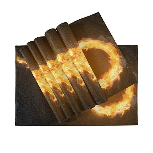 Juego de 6 manteles individuales, manteles individuales lavables con aislamiento térmico, sendero de llama con anillo de fuego, 18 x 12 pulgadas, manteles individuales de cocina para mesa de comedor