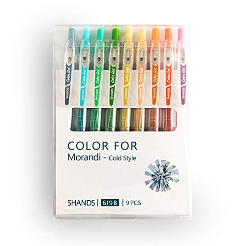 9 Colors Journal Planner Pens, Ball Point Pen, 0.5mm Gel Pen, No Bleed, for Drawing and Writing-Morandi Cold Style