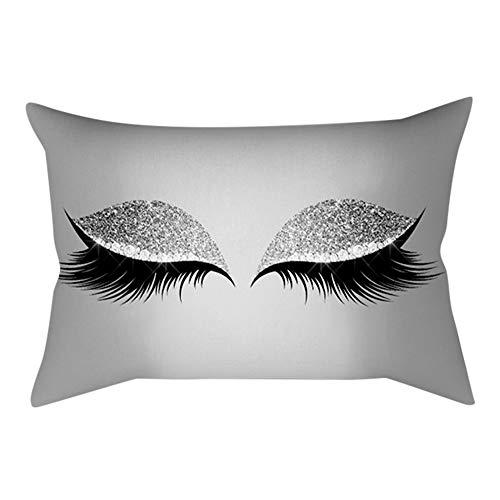 Xmiral Kissenbezug Soft Kissen Wimpernmuster 30x50cm Persönlichkeit Sofakissen Pillowcase(N)