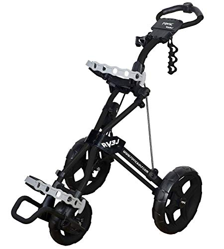 Rovic Model RV3J Junior | Youth 3-Wheel Golf Push Cart (Black)