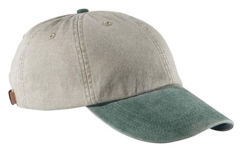 Adams Unisex 6-Panel Low-Profile Washed Pigment-Dyed Cap, Stone/Forest, One Size
