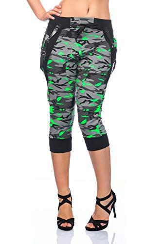 Crazy Age Camouflage Jogginghose Capri Damen Shorts Boyfriendhose Bagyyhose mit Hosentäger (Neongrün, M)