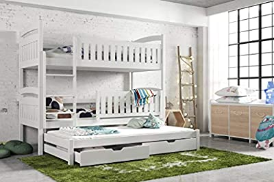 Modern Kids Children Wooden Solid Pine Bunk Trundle Bed BLANKA With Storage Drawers in White sold by Arthauss